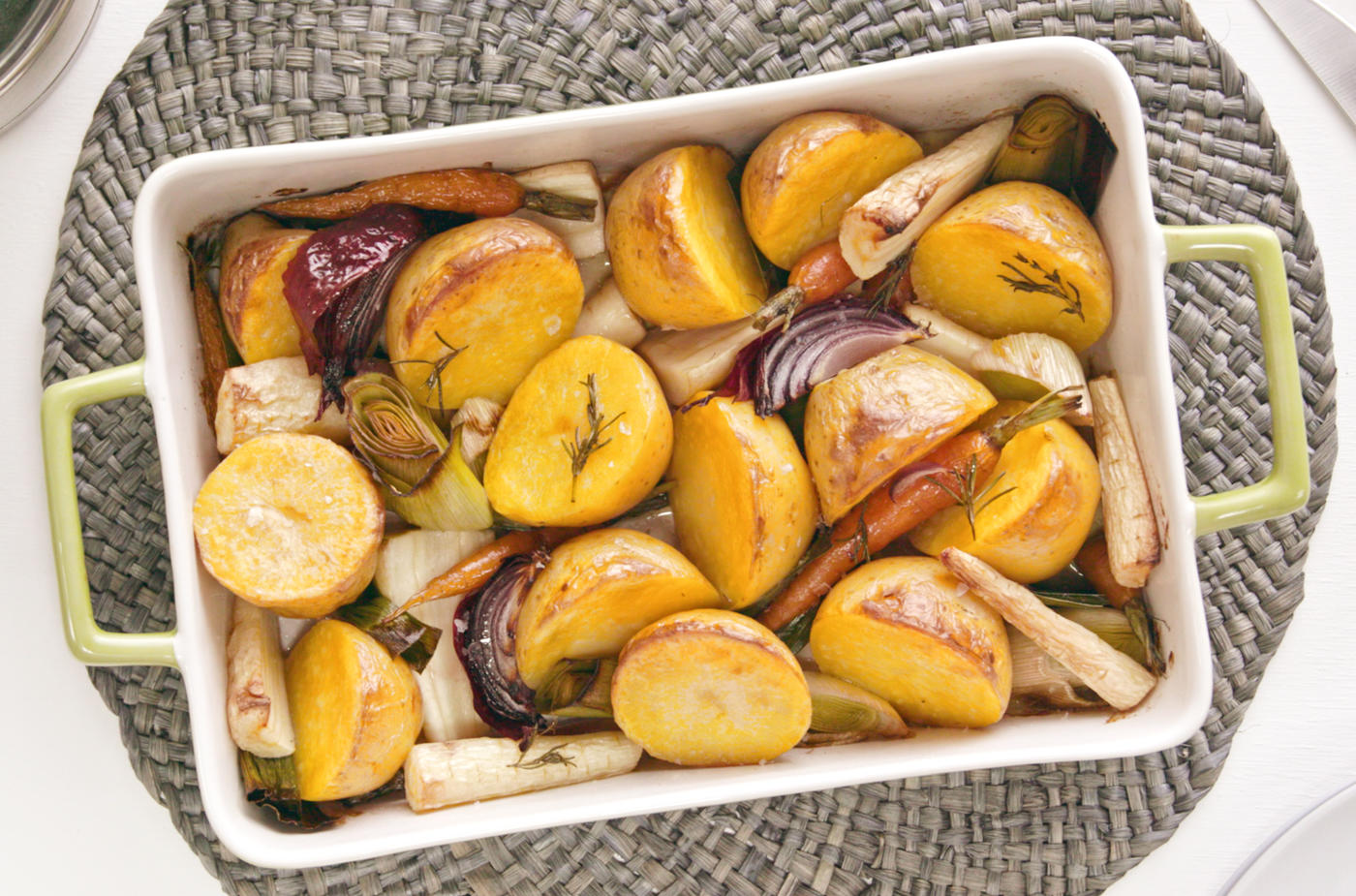 Roasted Inca Gold potatoes, carrot, leek, & red onion tray bake