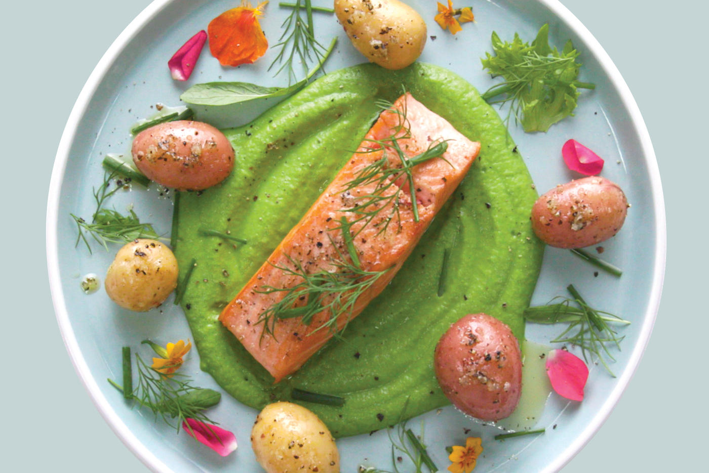 Crispy Salmon with Garlic Piccolos Potatoes & Pea Puree