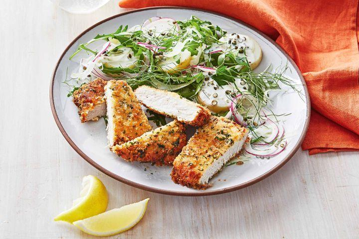 Pork and fennel schnitzel with potato salad