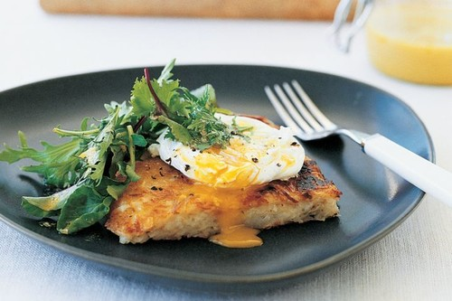 Potato galette with poached egg and salad