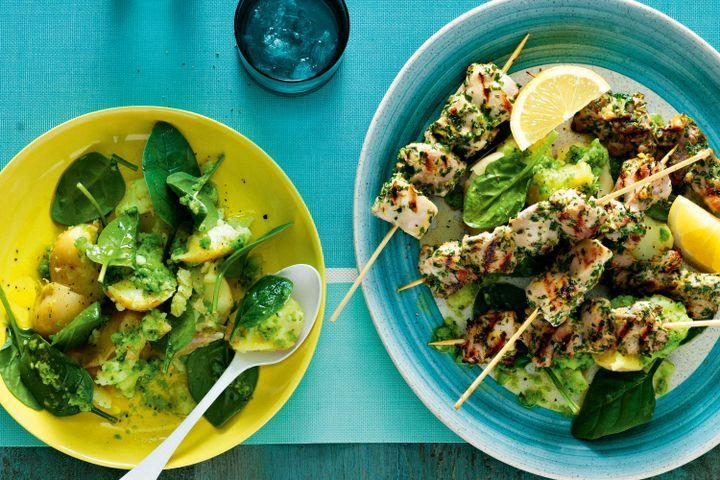 Herbed chicken skewers with pea pesto potato salad