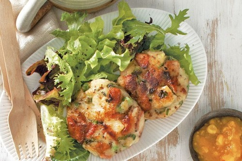 Bacon and pea potato cakes