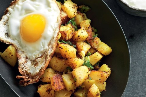 Indian Spiced Potatoes Fried Egg