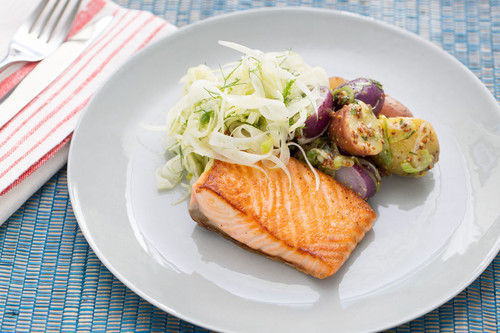 Salmon fillet with herbed potato salad