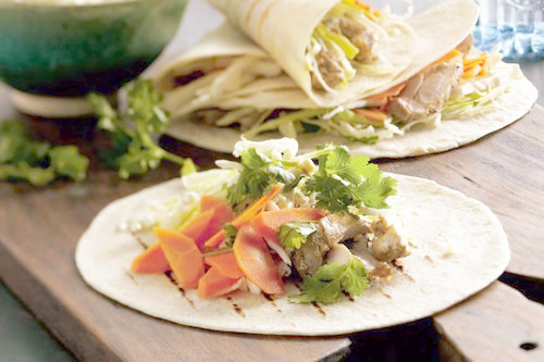 Chicken tacos with pickled carrots & cabbage