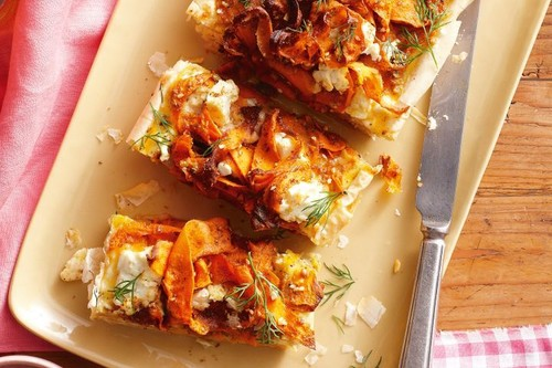 Carrot, feta, dill and chickpea tart