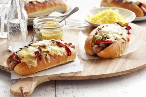 Sausage & cheese roll with balsamic onions
