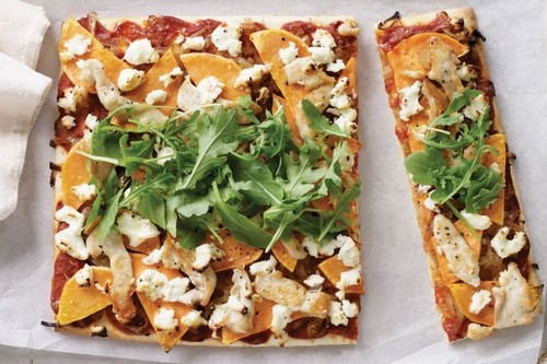 Chicken, caramelised onion and sweet potato pizza