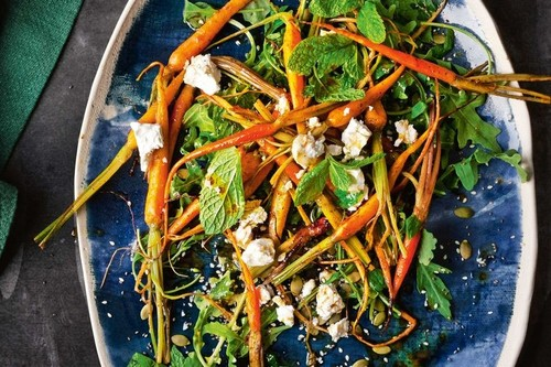 Baby carrot salad with roasted lemon dressing