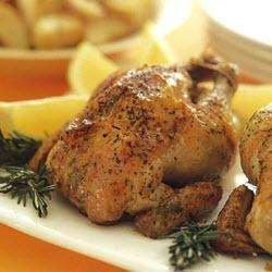 Roasted chicken with garlic potatoes